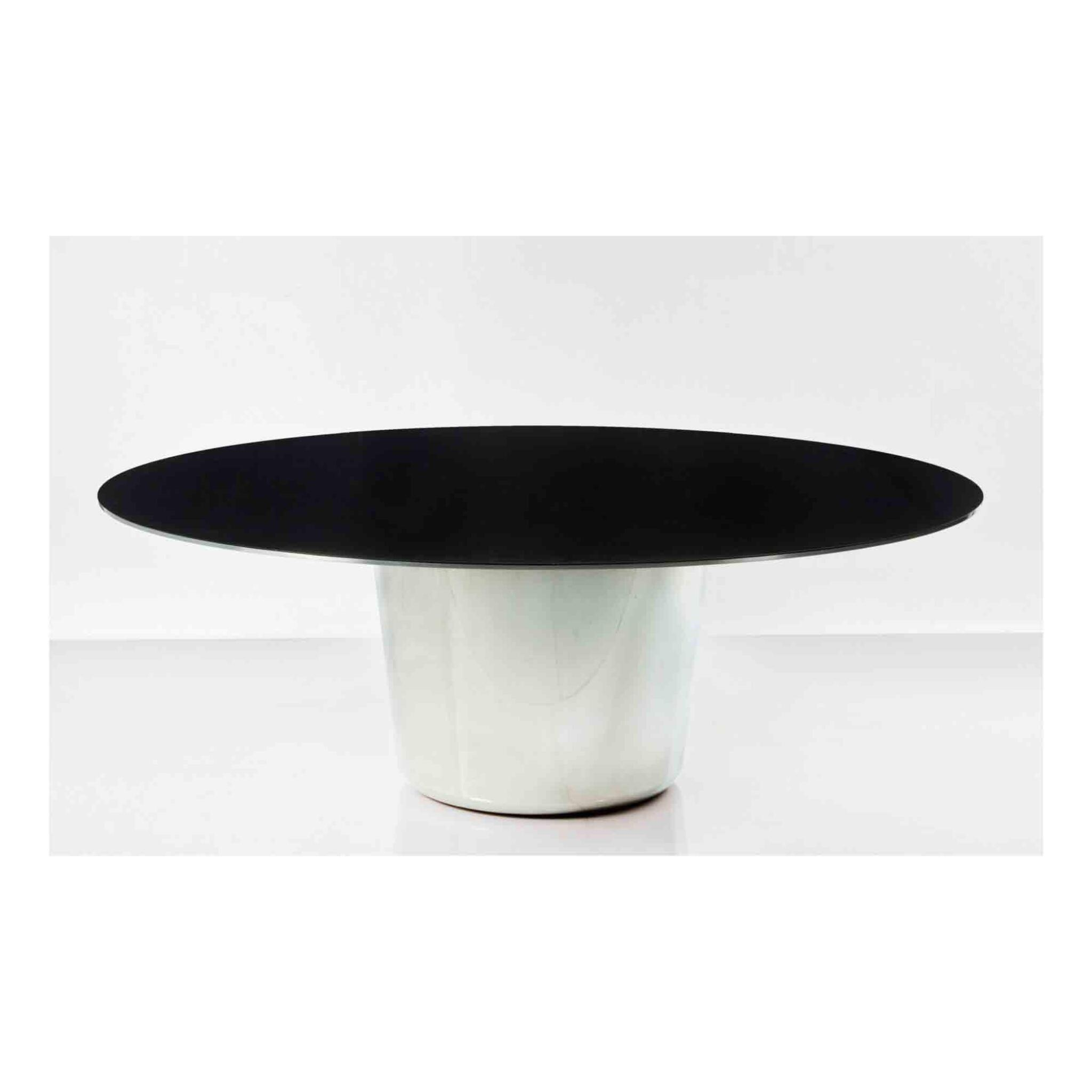 """View full screen - View 1 of Lot 163. """"M.L."""" Table with Black Top."""