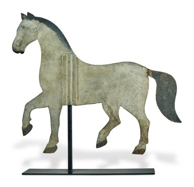 View 2. Thumbnail of Lot 1428. PAINTED SHEET-IRON INDEX-STYLE HORSE WEATHERVANE, POSSIBLY NEW ENGLAND, MID 19TH CENTURY.