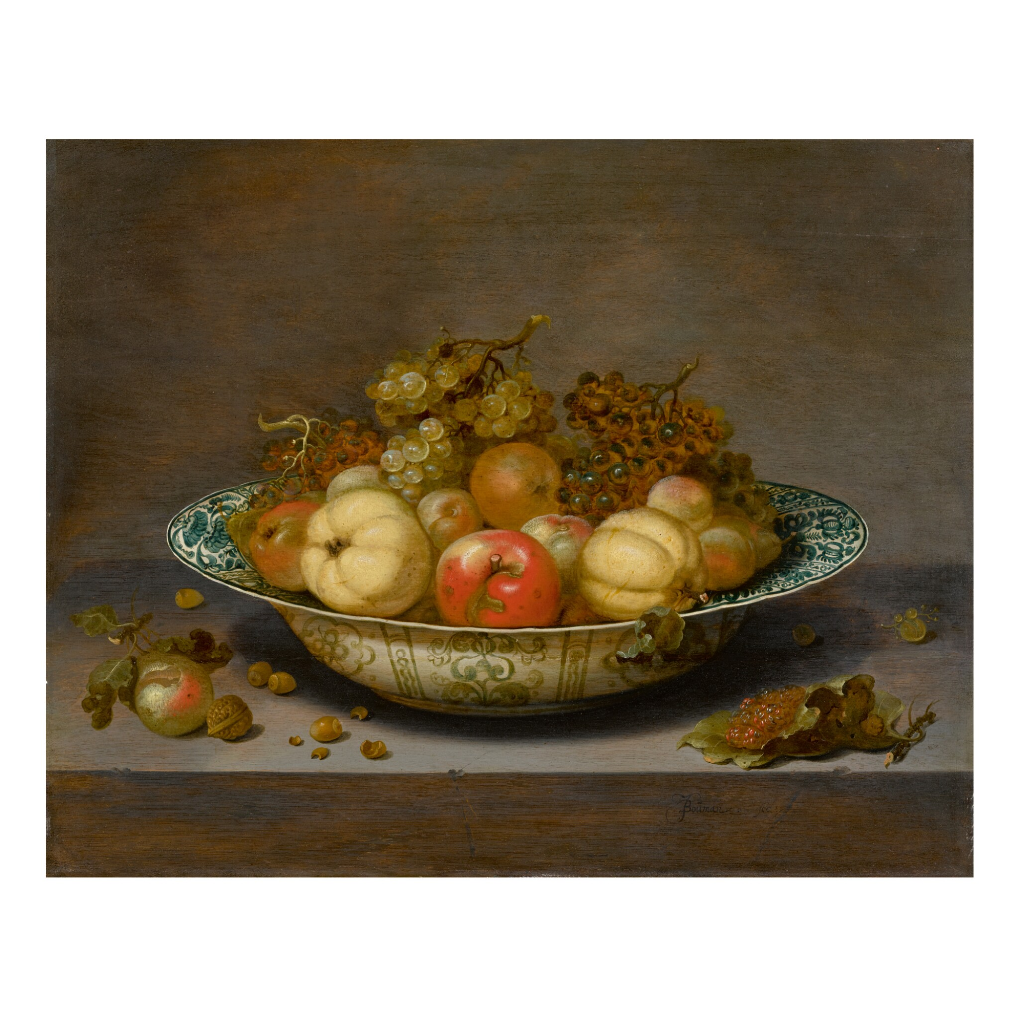 View full screen - View 1 of Lot 52. JOHANNES BOUMAN | STILL LIFE OF FRUIT IN A KRAAK BOWL, ON A LEDGE   .