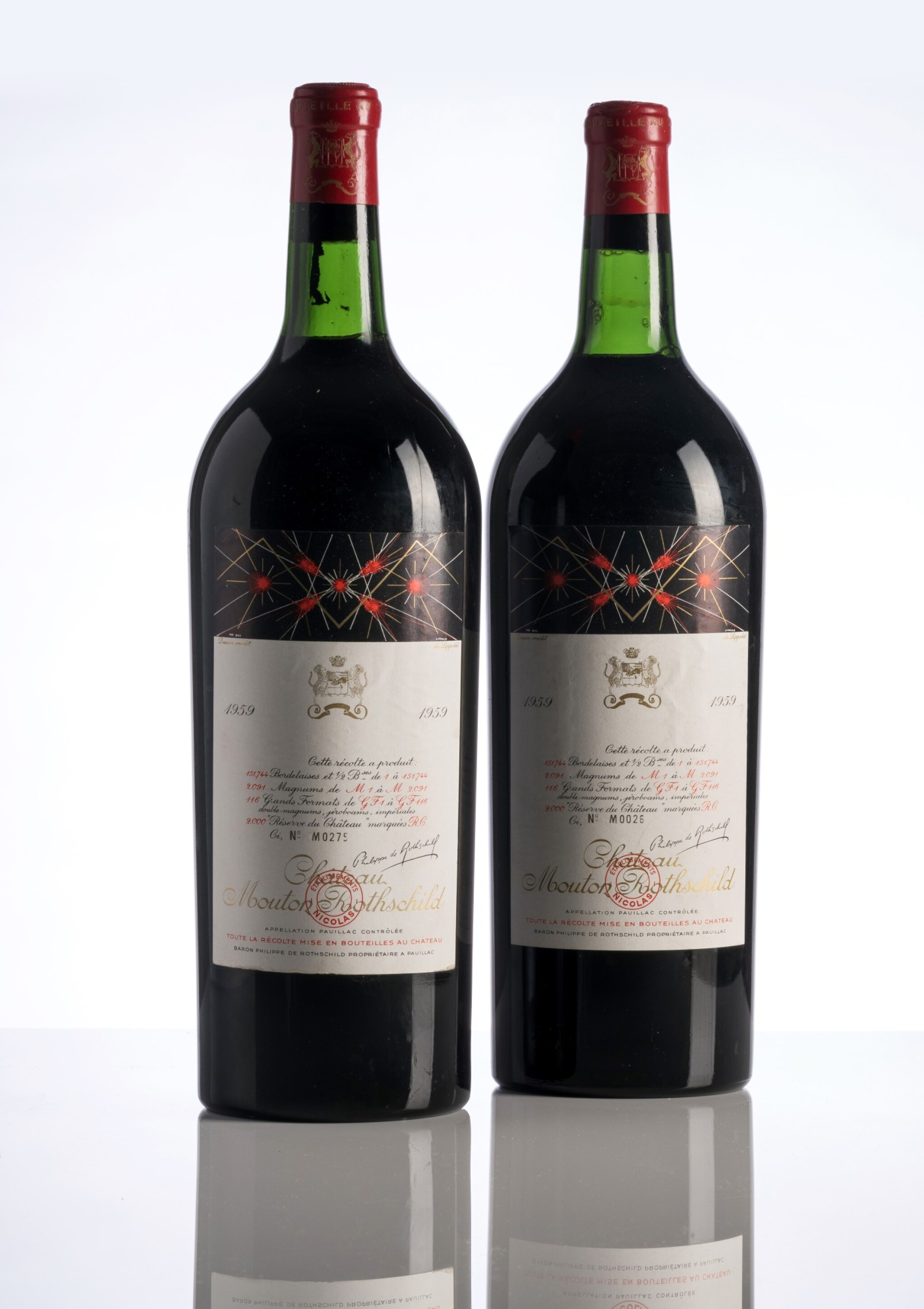 View full screen - View 1 of Lot 3. Château Mouton Rothschild 1959 (2 MAG).