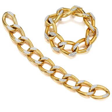 View 1. Thumbnail of Lot 230. Pair of Gold and Diamond Bracelets, France.