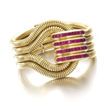 View 2. Thumbnail of Lot 616. René Boivin | Gold and ruby bracelet, 1940s | René Boivin | 黃金配紅寶石手鏈,1940年代.