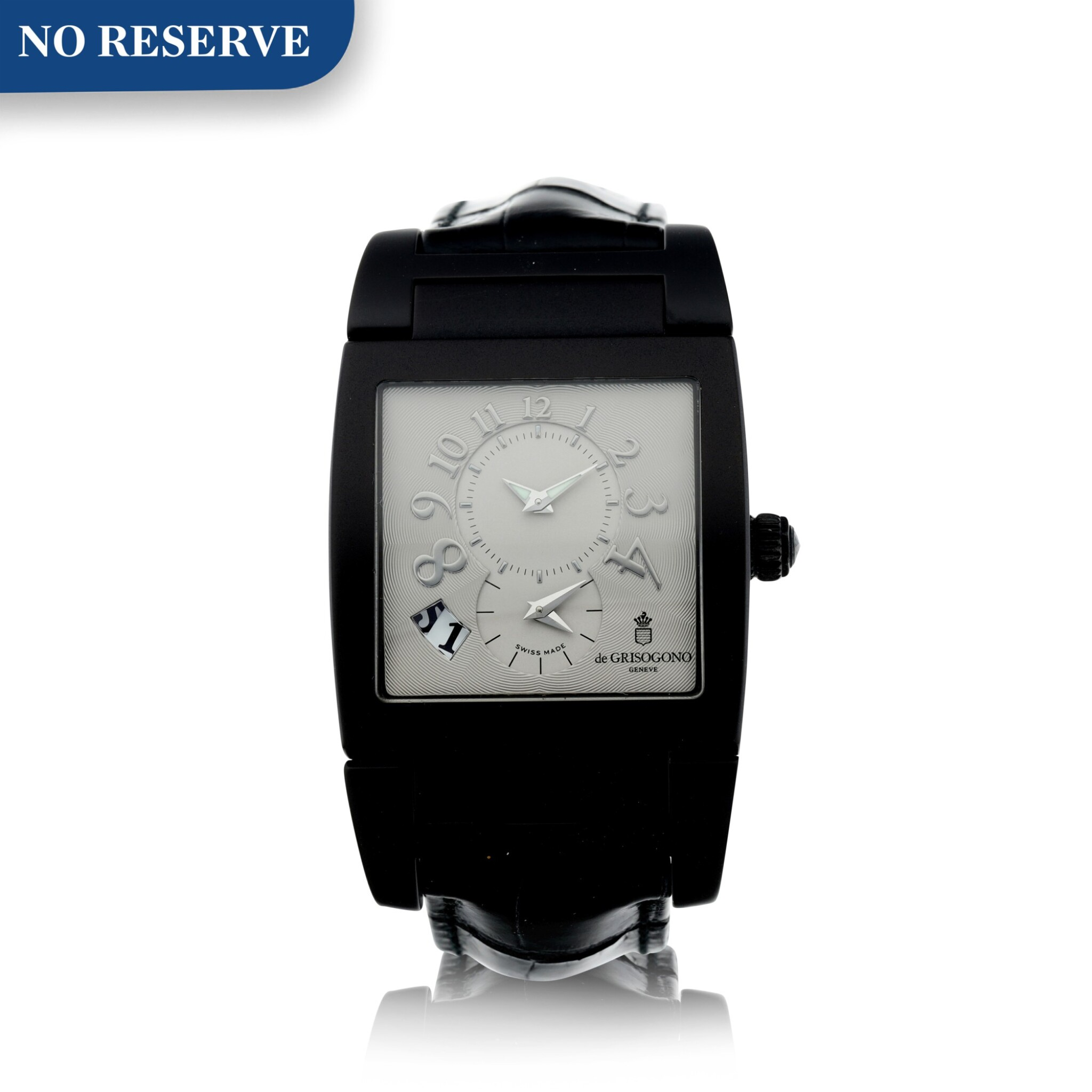View full screen - View 1 of Lot 223. REFERENCE UNO/DF A BLACK COATED STAINLESS STEEL DUAL TIME RECTANGULAR WRISTWATCH, CIRCA 2010.