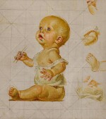 JOSEPH CHRISTIAN LEYENDECKER    STUDY FOR NEW YEAR'S BABY (BLOWING BUBBLES)