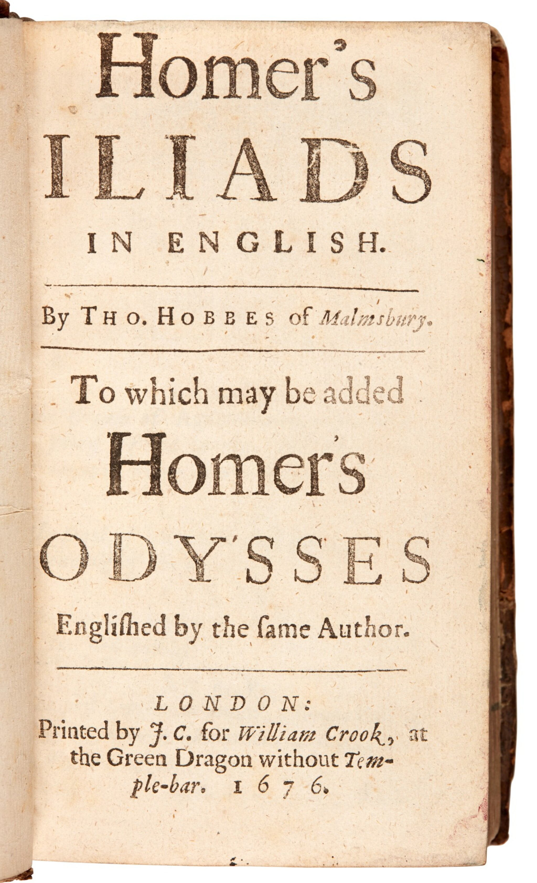 View full screen - View 1 of Lot 147. Homer, Iliads and Odysses, translated by Hobbes, London, 1676, contemporary calf.