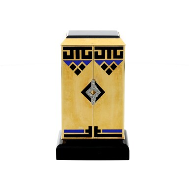 View 3. Thumbnail of Lot 87. A FINE AND RARE YELLOW GOLD, ONYX, ENAMEL AND DIAMOND-SET KEY-LESS DESK TIMEPIECE WITH FOLDING DIAL, CIRCA 1930.