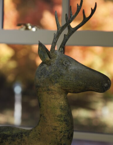 View 2. Thumbnail of Lot 1443. VERY FINE AND RARE MOLDED AND CAST FULL-BODIED GILT COPPER STAG WEATHERVANE, ATTRIBUTED TO A.L. JEWELL & CO., WALTHAM, MASSACHUSETTS, CIRCA 1870 .