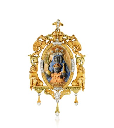 View 1. Thumbnail of Lot 37. Pendentif ivoire, écaille de tortue et diamants   Ivory, tortoiseshell and diamond pendant.