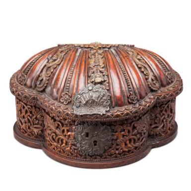 View 1. Thumbnail of Lot 35. South America, Alto Peru (now Bolivia), 18th century   Shell-form Box, Coquera.