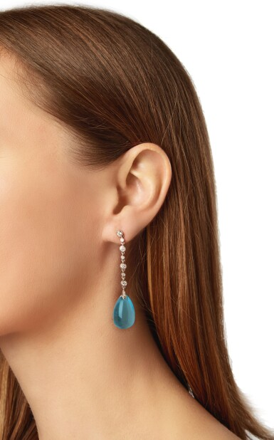 View 4. Thumbnail of Lot 93. PAIR OF BLUE TOPAZ AND DIAMOND PENDANT-EARRINGS.