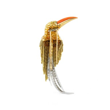 """View 4. Thumbnail of Lot 112. Broche corail, onyx et diamants, """"Toucan"""" 