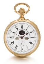 BREGUET   [寶璣]  | A FINE AND EXTREMELY RARE PINK GOLD OPEN-FACED TWO-TRAIN PERPETUAL CALENDAR CHRONOGRAPH WATCH WITH JUMPING FIFTHS, RETROGRADE DATE AND MOON PHASES    NO. 4420, SOLD TO MONSIEUR JEAN DOLLFUS ON 12 JULY 1922 FOR 6,500 FRANCS   [極罕有粉紅金雙發條萬年曆計時懷錶備1/5 秒跳秒功能、逆跳日期及月相顯示,編號4420,1922年7月12日以6,500法郎售出]