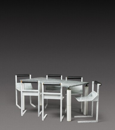 View 2. Thumbnail of Lot 186. Dining set comprising one table and six chairs.