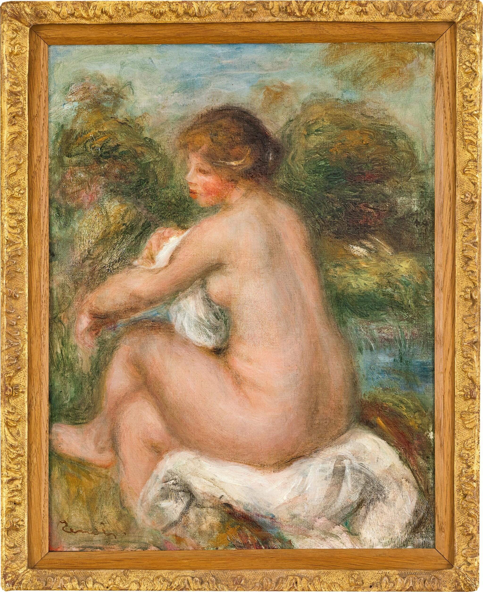 View full screen - View 1 of Lot 1042. Pierre-Auguste Renoir 皮耶・奧古斯特・雷諾瓦 | La Baigneuse assise 沐浴的少女.