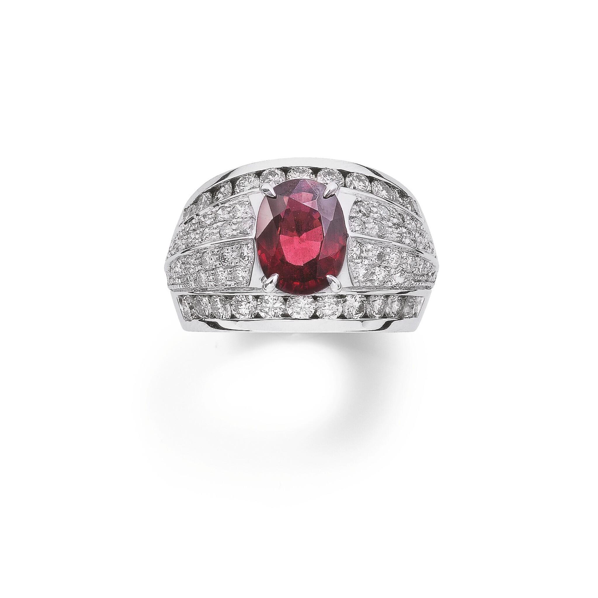 View full screen - View 1 of Lot 122.  Rhodolite garnetand diamond ring [Baguegrenatrhodolite et diamants].