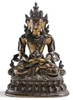STATUETTE D'AMITAYUS EN BRONZE PARTIELLEMENT DORÉ DYNASTIE QING, XVIIIE SIÈCLE   清十八世紀 局部鎏金銅無量壽佛坐像   A well-cast parcel-gilt bronze figure of Amitayus, Qing Dynasty, 18th century