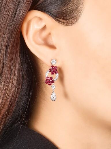 View 4. Thumbnail of Lot 1001. 'Rosette' Pair of Ruby and Diamond Pendent Earrings | 格拉夫 | 'Rosette' 紅寶石 配 鑽石 耳墜一對 (紅寶石及鑽石共重約5.10及2.20克拉).