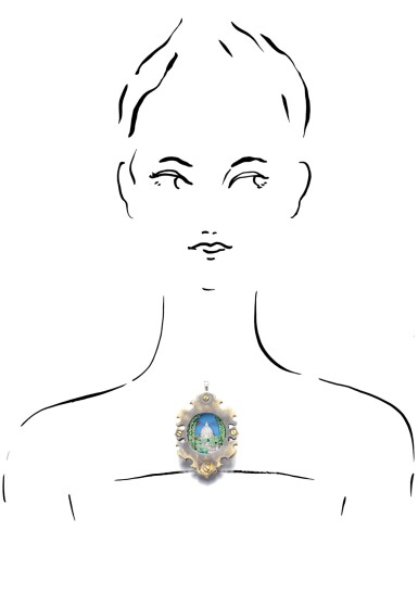 View 4. Thumbnail of Lot 38. MICHELE DELLA VALLE | TSAVORITE GARNET AND DIAMOND BROOCH/PENDANT.
