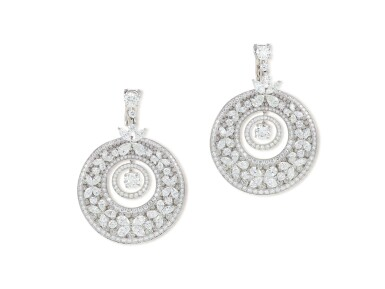 View 1. Thumbnail of Lot 1649. 'Butterfly' Pair of Diamond Pendent Earrings | 格拉夫 | 'Butterfly' 鑽石 耳墜一對.