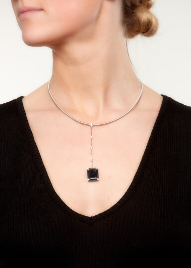 HEMATITE AND DIAMOND PENDANT NECKLACE, CHOPARD