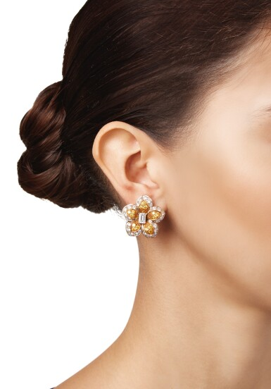 View 2. Thumbnail of Lot 91. PAIR OF DIAMOND AND COLORED DIAMOND EARCLIPS, VAN CLEEF & ARPELS.