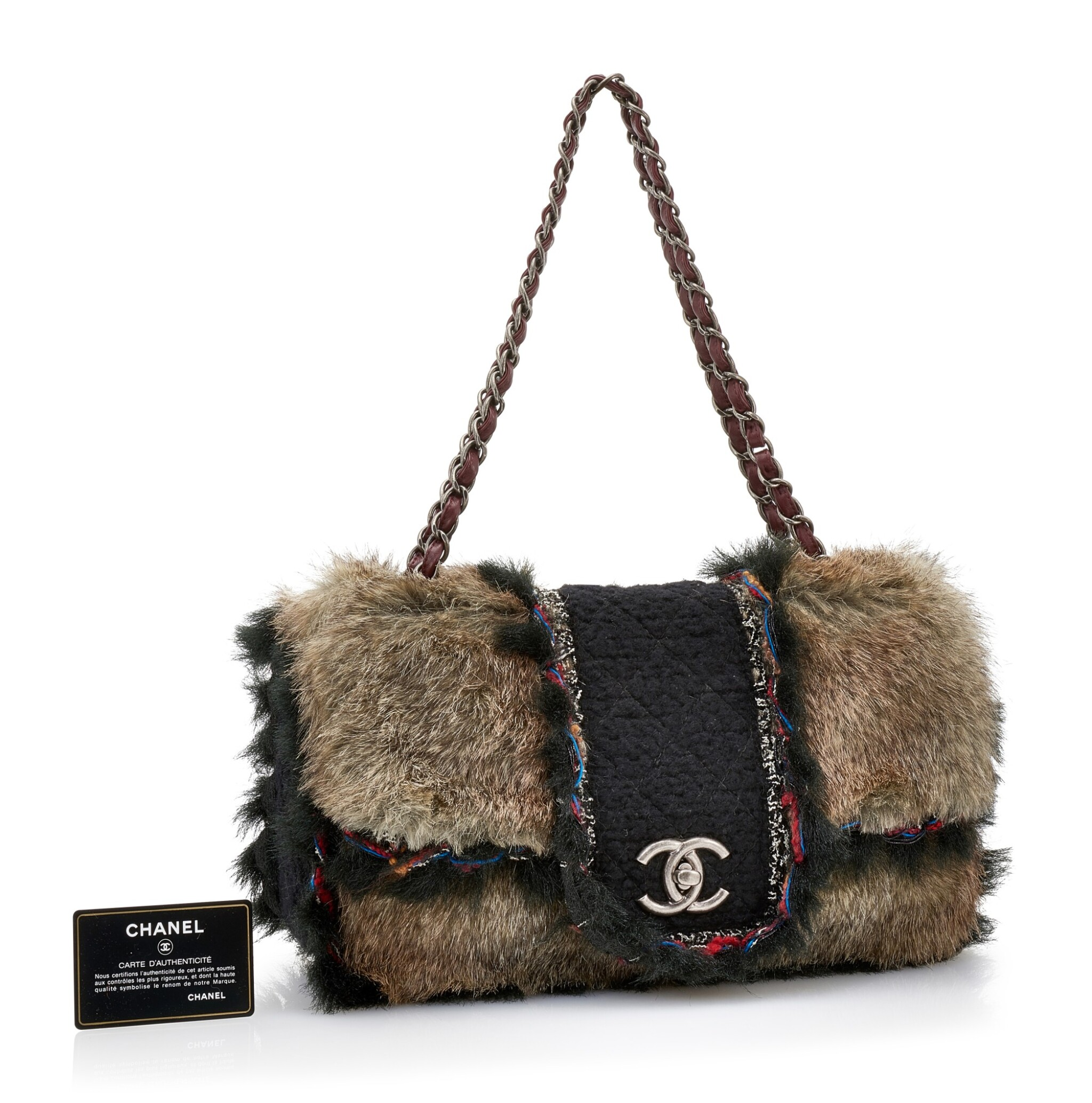 RARE FANTASY FAUX FUR MAXI FLAP CLASSIC SHOULDER BAG, CHANEL