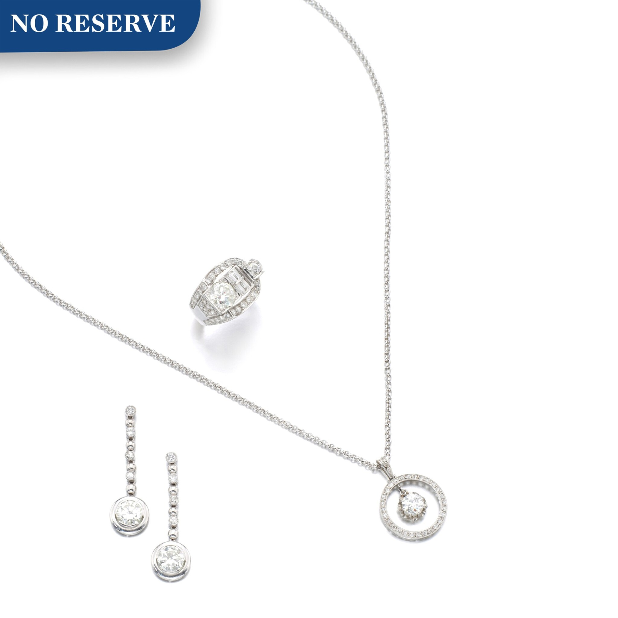 View 1 of Lot 1008. Collection of diamond jewels.