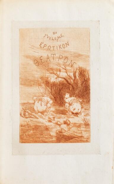 View 4. Thumbnail of Lot 87. Le Théâtre érotique de la rue de la Santé]. 1864. Très rare éd. or, exemplaire sur Chine, gravures de Rops.