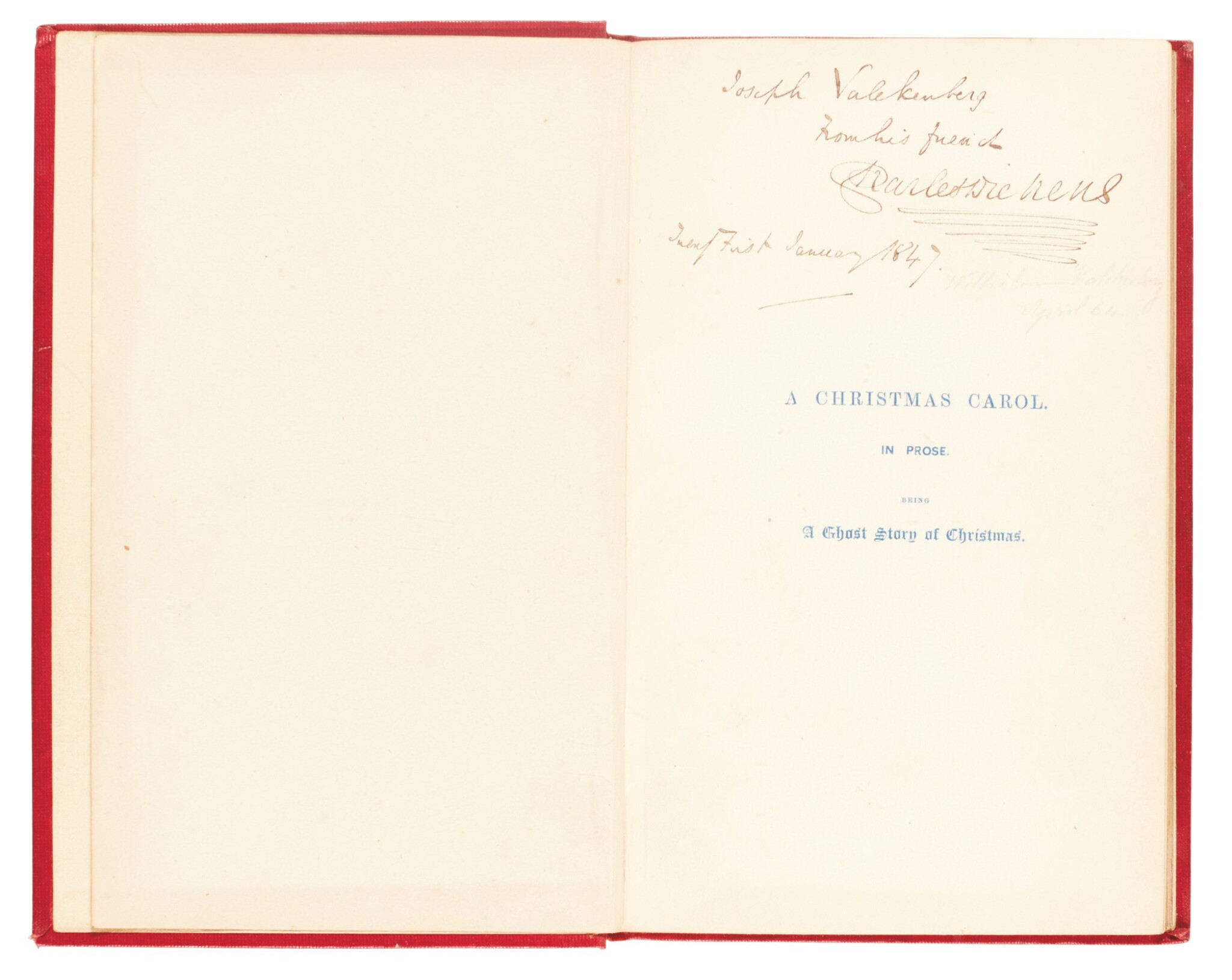 View full screen - View 1 of Lot 110. Dickens, A Christmas Carol, 1846, eleventh edition, inscribed to his wine merchant Joseph Valckenberg.