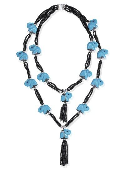View 2. Thumbnail of Lot 12. Gem set and diamond necklace, 'Elefanti', Michele della Valle.