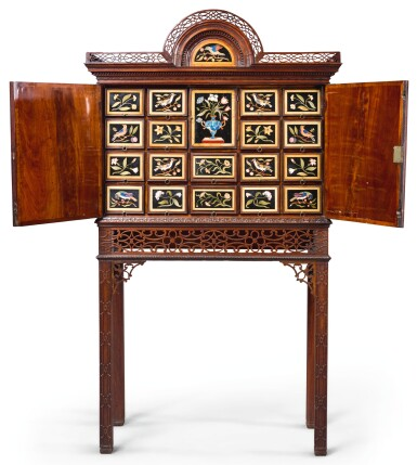 A GEORGE III PIETRE DURE MOUNTED MAHOGANY CABINET-ON-STAND THE PIETRE DURE PANELS, FLORENCE, MID-17TH CENTURY, THE CABINET-ON-STAND CIRCA 1765