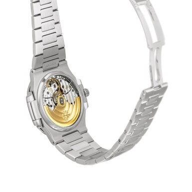 View 3. Thumbnail of Lot 2087. Patek Philippe   Nautilus, Reference 5800, A stainless steel bracelet watch with date, Retailed by Tiffany & Co., Circa 2008   百達翡麗   Nautilus 型號5800   精鋼鏈帶腕錶,備日期顯示,由 Tiffany & Co. 發行,約2008年製.