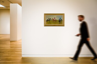 View 4. Thumbnail of Lot 56. SIR ALFRED JAMES MUNNINGS, P.R.A., R.W.S. | FIVE RACEHORSES WITH JOCKEYS UP.