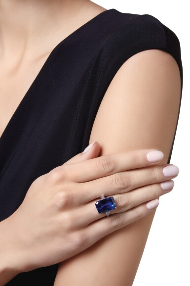View 2. Thumbnail of Lot 602. SAPPHIRE AND DIAMOND RING, CARTIER | 藍寶石配鑽石戒指,卡地亞.