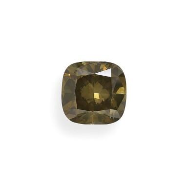 A 5.07 Carat Fancy Dark Brown-Greenish Yellow Cushion-Cut Diamond