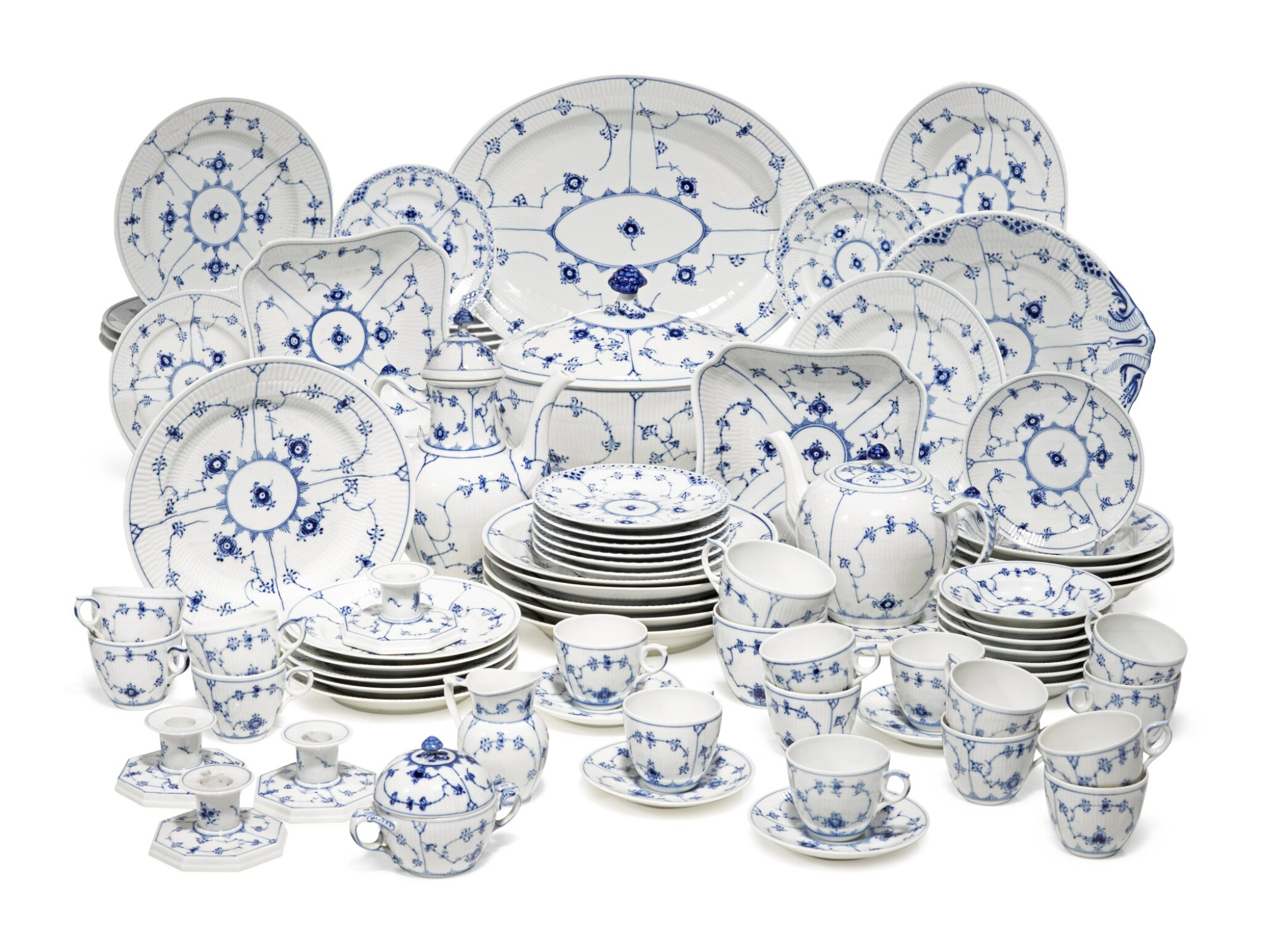 View full screen - View 1 of Lot 22. A Royal Copenhagen 'Blue Lace' Dinner, Tea, and Coffee Service, Modern.
