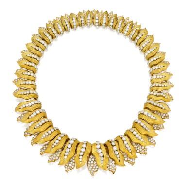 View 1. Thumbnail of Lot 414. GOLD AND DIAMOND NECKLACE, BULGARI | 黃金鑲鑽石項鏈,寶格麗.
