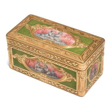 AN ENAMELED GOLD SNUFF BOX, PROBABLY HANAU, CIRCA 1775