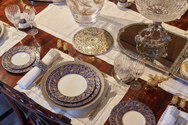 View 14. Thumbnail of Lot 44. An early 19th C Mahogany Dining Table by Gillow & Co. with a set of 12 carved Dining Chairs in the Chippendale Style, and a Thomas Goode 'Stewart' bone china part dinner and dessert service, and an original antique glass from the Thomas Goode archive, various dates.