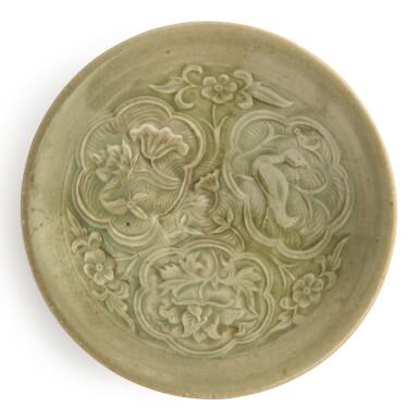 View 1. Thumbnail of Lot 110. A rare small molded 'Yaozhou' celadon-glazed bowl, Northern Song / Jin dynasty | 北宋 / 金 耀州窰青釉印花鴛鴦花卉紋小笠式盌.