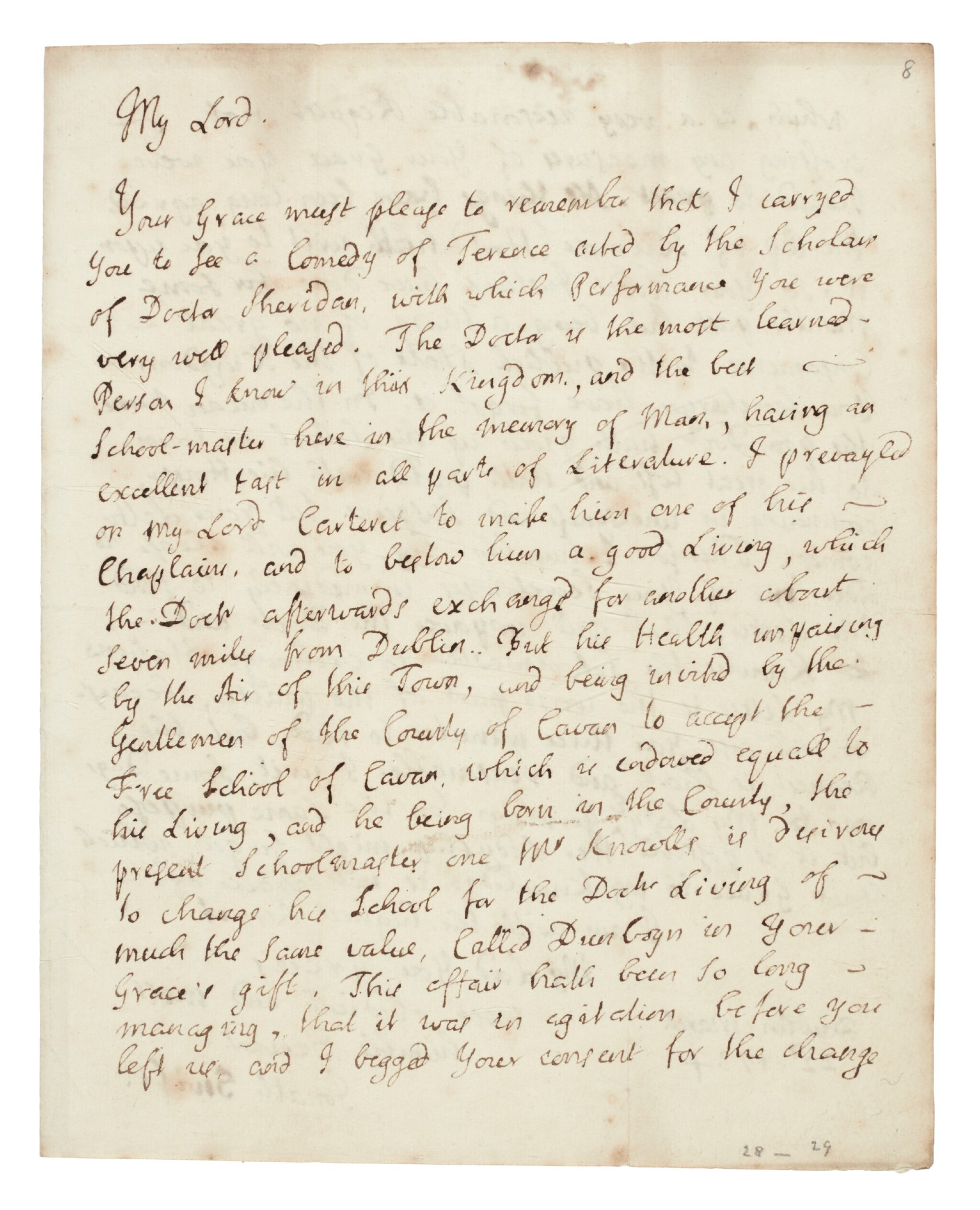 View full screen - View 1 of Lot 243. Jonathan Swift   Autograph letter signed, to the Duke of Dorset, in support of his friend Thomas Sheridan, 22 March 1735.