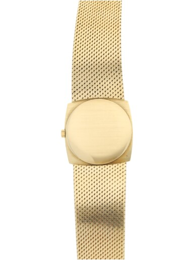 View 5. Thumbnail of Lot 56. PATEK PHILIPPE | REFERENCE 3523/1  A YELLOW GOLD SQUARE-SHAPED BRACELET WATCH, MADE IN 1965.