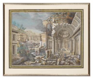 PIERRE NICOLAS LEGRAND DE LÉRANT | A PAIR OF CLASSICAL SCENES WITH FIGURES AMONG RUINS: A) A RUINED PALATIAL HALL IN A CITY SACKED BY TURKS (RECTO); A PLAN OF THE BUILDING WITH STUDIES OF FIGURES (VERSO) B) A CAPRICCIO OF CLASSICAL RUINS WITH TURKS BY A POOL IN THE FOREGROUND