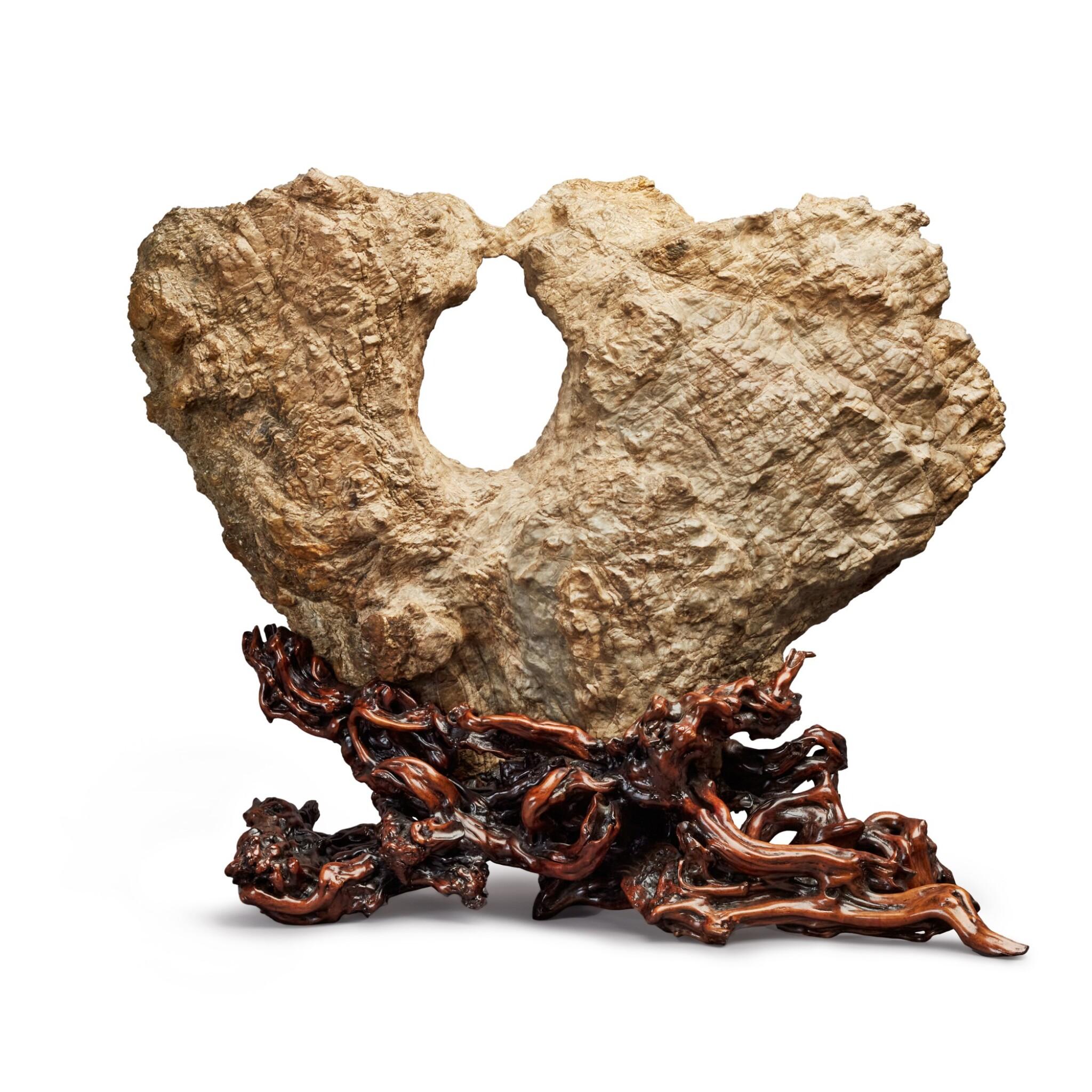 "View full screen - View 1 of Lot 145. China, Qing dynasty | Scholar's Rock (""Kissing Birds"")."