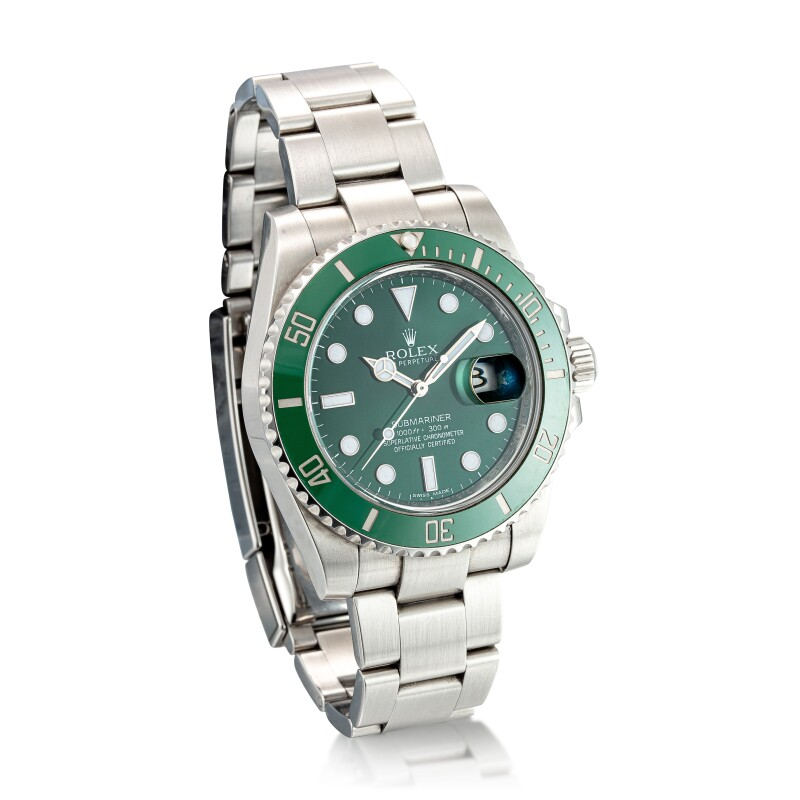 """Submariner """"Hulk"""", Reference 116610lv  A Stainless Steel Wristwatch with Date and Bracelet, circa 2012"""