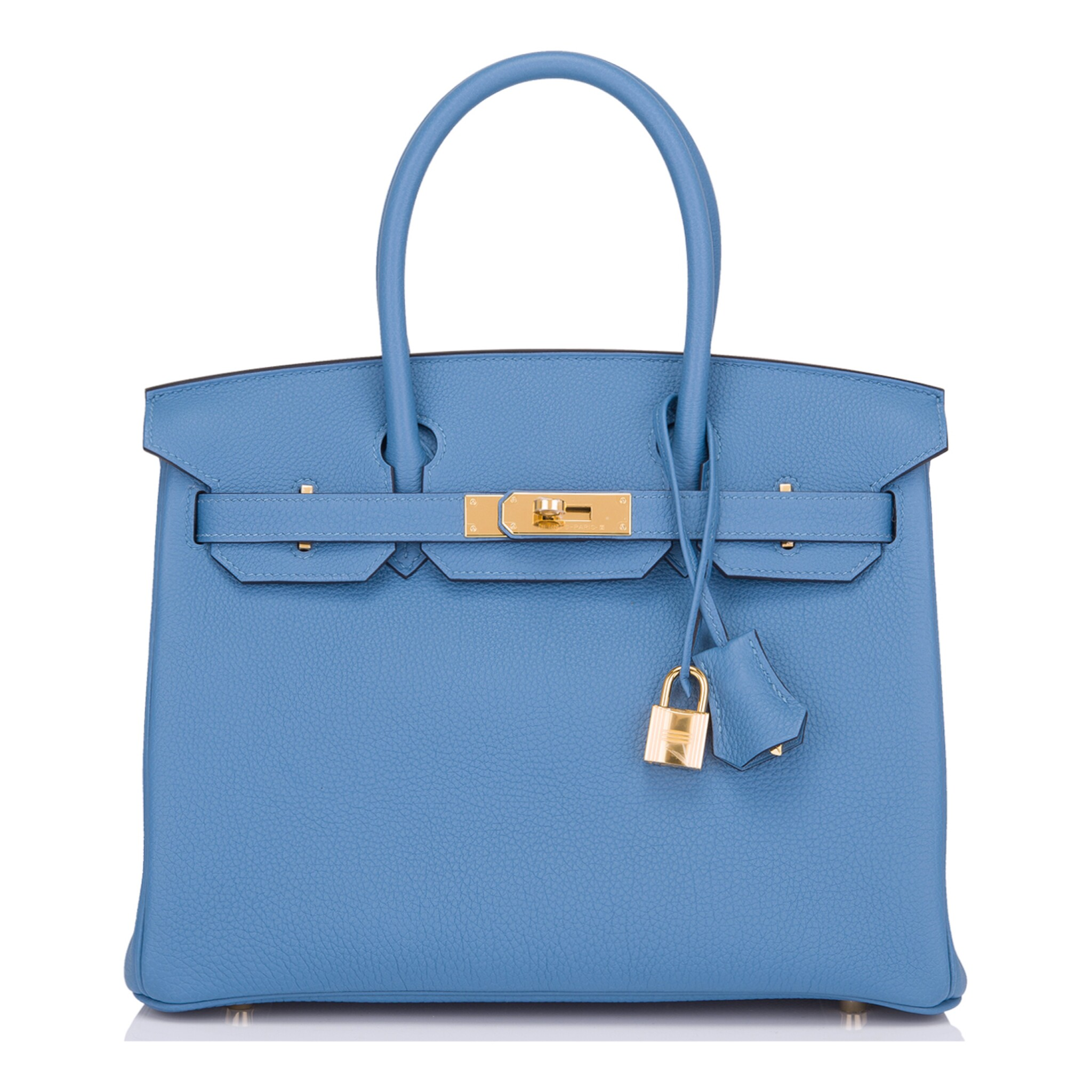 View full screen - View 1 of Lot 22. Hermès Bleu Azur Birkin 30cm of Togo Leather with Gold Hardware.