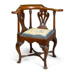 VERY RARE QUEEN ANNE CARVED WALNUT ROUNDABOUT ARMCHAIR, ATTRIBUTED TO JOHN ELLIOTT, SR. (1713-1793), PHILADELPHIA, PENNSYLVANIA, CIRCA 1755