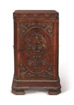 AN ADAM REVIVAL MAHOGANY PEDESTAL CUPBOARD, 19TH CENTURY