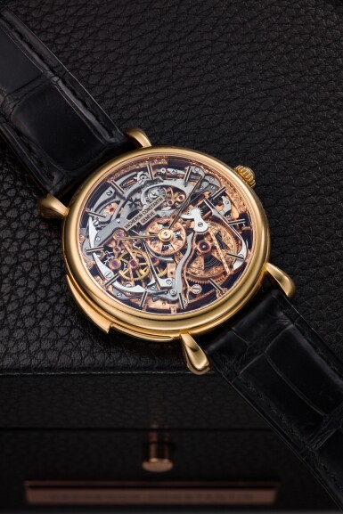 View 1. Thumbnail of Lot 182. REFERENCE 30030 A PINK GOLD SKELETONIZED MINUTE REPEATING WRISTWATCH, CIRCA 1995.