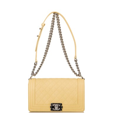 View 5. Thumbnail of Lot 84. Chanel Yellow Quilted Old Medium Boy Bag of Caviar Leather with Silver Hardware.